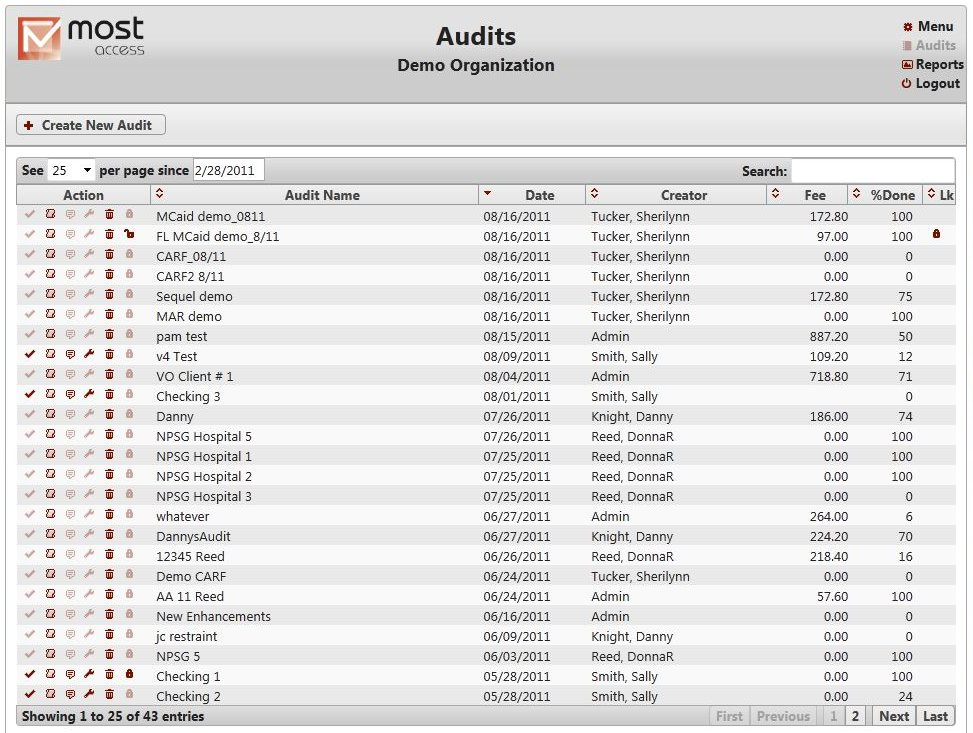 Audit Listing Screenshot